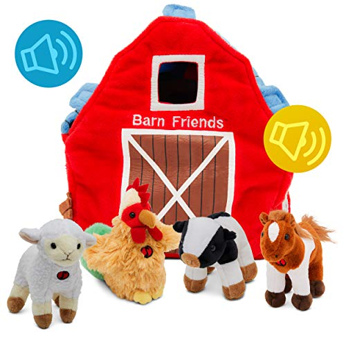 (Plush Farm Animals for Toddlers | Fun Learning Toys Set with Sound & Barn| Little Talking Stuffed Cow, Horse, Lamb, & Rooster with Farmhouse for Boys & Girls | Set of 4)
