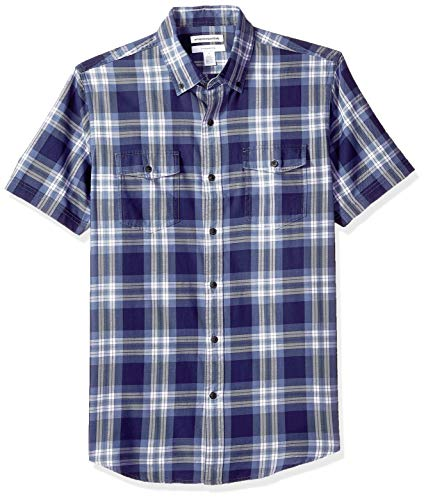 (Amazon Essentials Men's Slim-Fit Short-Sleeve Two-Pocket Twill Shirt, Blue Plaid,)