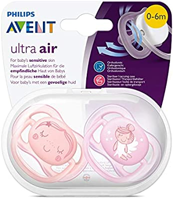 Philips AVENT SCF345/20 - Chupete (Ultra soft pacifier, Ortodóntico, Silicona, Coral, Rosa, 6 mes(es), Reino Unido)