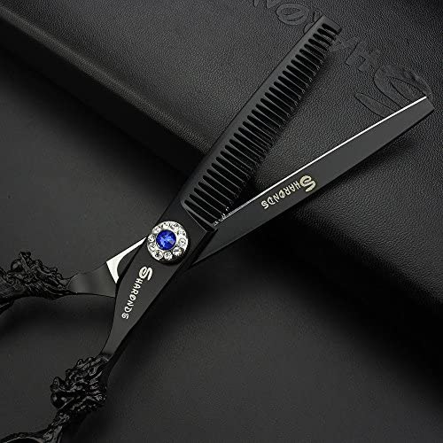 5.5 inch professional hairdressing scissors black 440c high quality hairdresser hair trim cut and dilute scissors  kpD6a