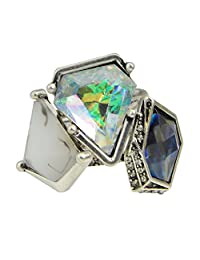 Feelontop® 3pcs/set Boho Retro Silver Geometric Triangle Natural Stone Finger Rings with Jewelry Pouch