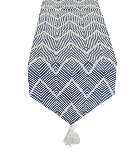 Fennco Styles Contemporary Chevron Tassel Cotton Blend 14 x 71 Inch Table Runner - Woven Table Runner for Indoor Party, Family Gathering, Beach House and Home Décor ()
