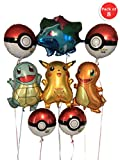 RainTraders Large Pokémon Birthday Party Balloons – 8 pieces, over-2-feet-tall each: Pikachu Ivysaur Charmander Squirtle + 4 round Pokeball 18'' | 8 Pack |Children's Pokemon Birthday Party Decoration