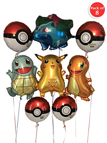 RainTraders Large Pokémon Birthday Party Balloons – 8 pieces, over-2-feet-tall each: Pikachu Ivysaur Charmander Squirtle + 4 round Pokeball 18'' | 8 Pack |Children's Pokemon Birthday Party Decoration by RainTraders