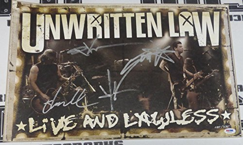 Unwritten Law Signed 13x20 Live and Lawless Limited Ed Lithograph Poster - PSA/DNA Certified - Autographed College Art