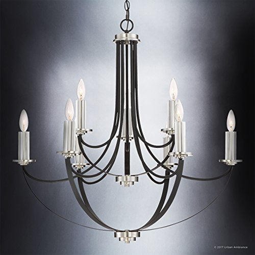 Luxury Mid-Century Modern Chandelier, Large Size: 31.5''H x 32''W, with Colonial Style Elements, Silver Trimmed Design, High-End Black Silk Finish and Exposed Bulbs, UQL2012 by Urban Ambiance by Urban Ambiance (Image #2)
