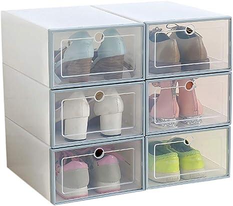 ZiXingA Cajas de Zapatos de plástico Transparente Apilable, Tamaño de la Caja de Zapatos Contenedores de Almacenamiento con Tapas (6 Pack) Azul 1 OneSize: Amazon.es: Hogar