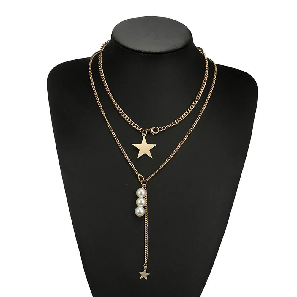 WaiiMak 2019 Hot Women Chain Geometric Five-Pointed Star Pearl Long Necklac Alloy Star Clavicle Chain (A)