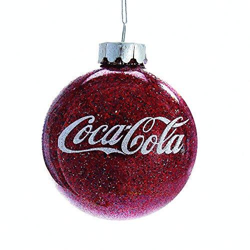 - Kurt Adler CC4161 Coca-Cola Glittered Glass Ball Ornament, 80mm