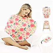 IVANKEE Baby Car Seat Covers Canopy,4 In 1 Nursing Breastfeeding Covers,High Chair Covers,Shopping Chart Cover,Lightweight,Breathable,Rose Lover