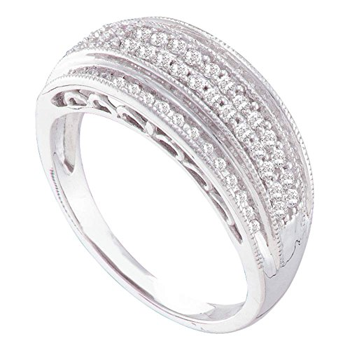 - 10KT White Gold Round Diamond Domed Band Ring 0.36 Cttw