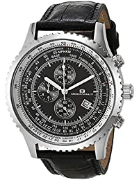 Men's Actuator Stainless Steel Quartz Camping Watch with Leather Strap, Black, 23 (Model: OC0312)