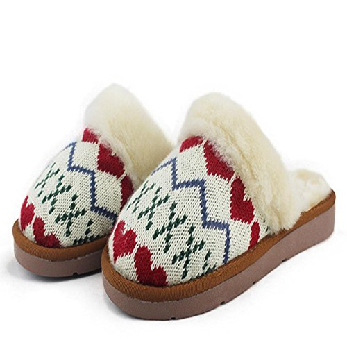 LDMB Schaffell wolle Frauen nach Hause Flachboden Anti-Rutsch-slippers2 Paare , hearts , 36