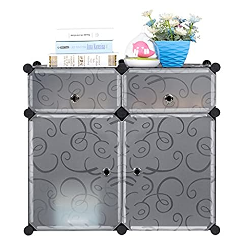 LANGRIA 4-Cube Storage Cube Closet Organizer Shelf Cabinet Bookcase, Shoe Rack Plastic Cabinet with Doors, 2 Cubbies and 2 Big Cubes, Black and White Curly - Modular Office Storage