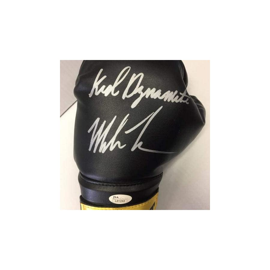 Mike Tyson Signed Black Everlast Boxing Glove Inscribed Kid Dynamite Auto JSA Certified Autographed Boxing Gloves