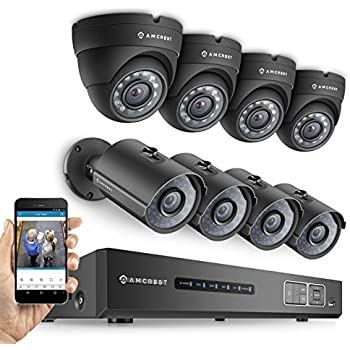 Amcrest ProHD 720P 8CH Video Security System - Eight 1.0-Megapixel (1280TVL) Outdoor IP67 Bullet & Dome Cameras, 2TB HDD, Night Vision, Remote Smartphone Access, Black Mid (AMDV7208M-4B4D-B)