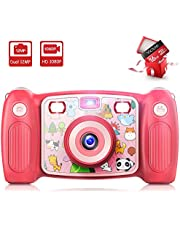 Victure Kids Camera Digital Rechargeable Selfie Action Camera 1080P HD 12MP with 16GB SD Card 2 Inch LCD Display and Shockproof Handles for Girls Boys Toys Gifts