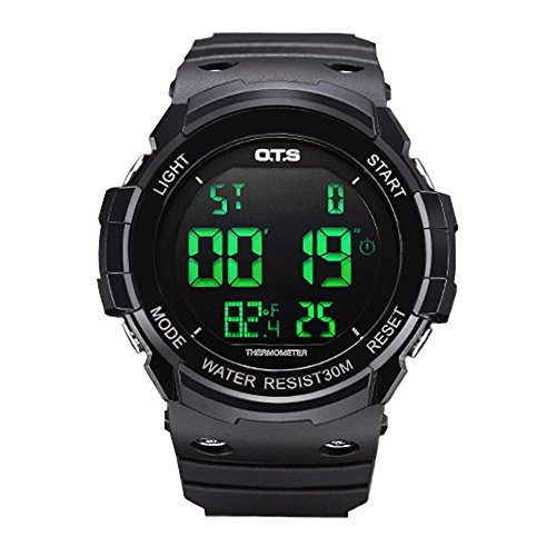 PALADA Men's Sports Watch,All Black Outdoor Recreation Digital Wrist Watch Smart Movement with Dual Time and LED Backlight by PALADA