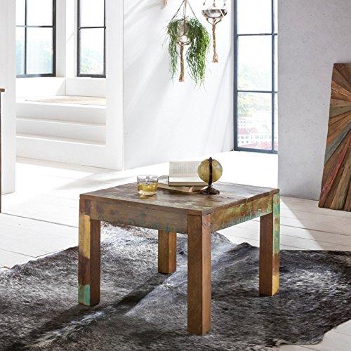 FineBuy Couchtisch KALKUTTA 60 x 47 x 60 cm | Massivholz Beistelltisch Shabby-Chic | Wohnzimmer Tisch aus Bootsholz | Sofatisch quadratisch