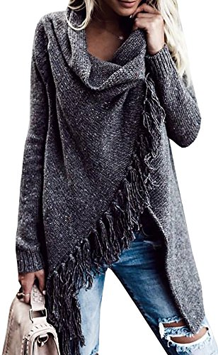 Nulibenna Womens Tassel Hem Cowl Neck One Button Wrap Cardigan Long Sleeve Sweater Outwear