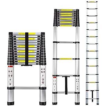 ARCHOM Aluminum Telescoping Extension Ladder Portable Lightweight Multi-Purpose Folding Telescopic Ladder Sliding Latch Retraction - 330lb Load Capacity (4.9M/16Ft)