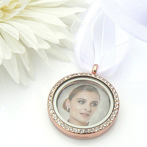 - Rose Gold Crystal Picture Frame Bouquet Charm for 2 Photos - Memory Locket - Brides Keepsake