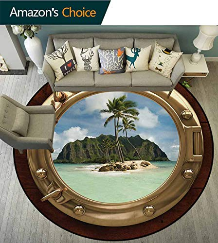 - RUGSMAT Hawaiian Computer Chair Floor Mat,Porthole Inside Ship View of A Deserted Island Hill Cliff Tropical Holiday Printed Round Carpet for Children Bedroom Play Tent,Diameter-31 Inch