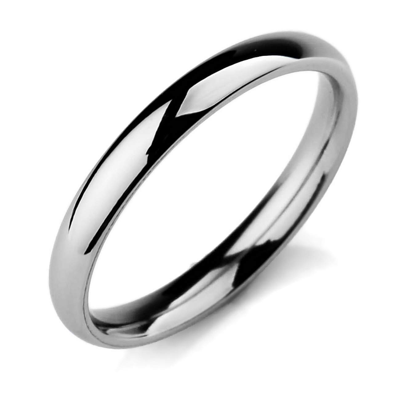 MeMeDIY 3mm Silver Tone Stainless Steel Ring Band Wedding Love Size 7 - Customized Engraving