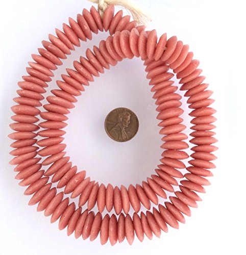 136 African Ghana handmade Krobo baby Pink Recycled Glass Disk fair trade beads from Ghana