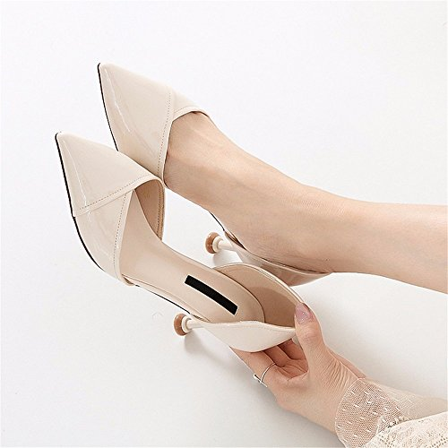 sexy alto scarpe creamy lavoro da con donna estate punta tacco a Primavera e autunno white da temperamento YMFIE qRP7wP