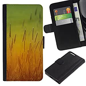 Planetar® Modelo colorido cuero carpeta tirón caso cubierta piel Holster Funda protección Para Apple (5.5 inches!!!) iPhone 6+ Plus ( Sun Yellow Field Rye Crop Nature )