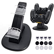 Opard DualShock 4 Charging Station for Sony PlayStation 4/ PS4 Slim/ PS4 Pro Controller Charger Dock with 2 Extra USB Ports Includes 4 Micro USB Dongles/ 8 Thumb Grips for Joysticks