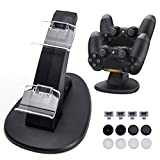 Opard DualShock 4 Charging Station for Sony PlayStation 4/PS4 Slim/PS4 Pro Controller Charger Dock with 2 Extra USB Ports Includes 4 Micro USB Dongles/8 Thumb Grips for Joysticks
