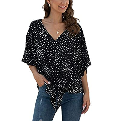 VIISHOW Womens Short Sleeve V Neck Floral Tie Front Chiffon Blouses Batwing Summer Tops Shirts at Women's Clothing store