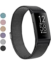 Amzpas Metal Band Compatible with Fitbit Charge 4 Bands, Fitbit Charge 3 / Fitbit Charge 3 SE Bands, Adjustable Stainless Metal Wristband Bracelet Strap for Fitbit Charge 4 Fitness Activity Tracker Women Men