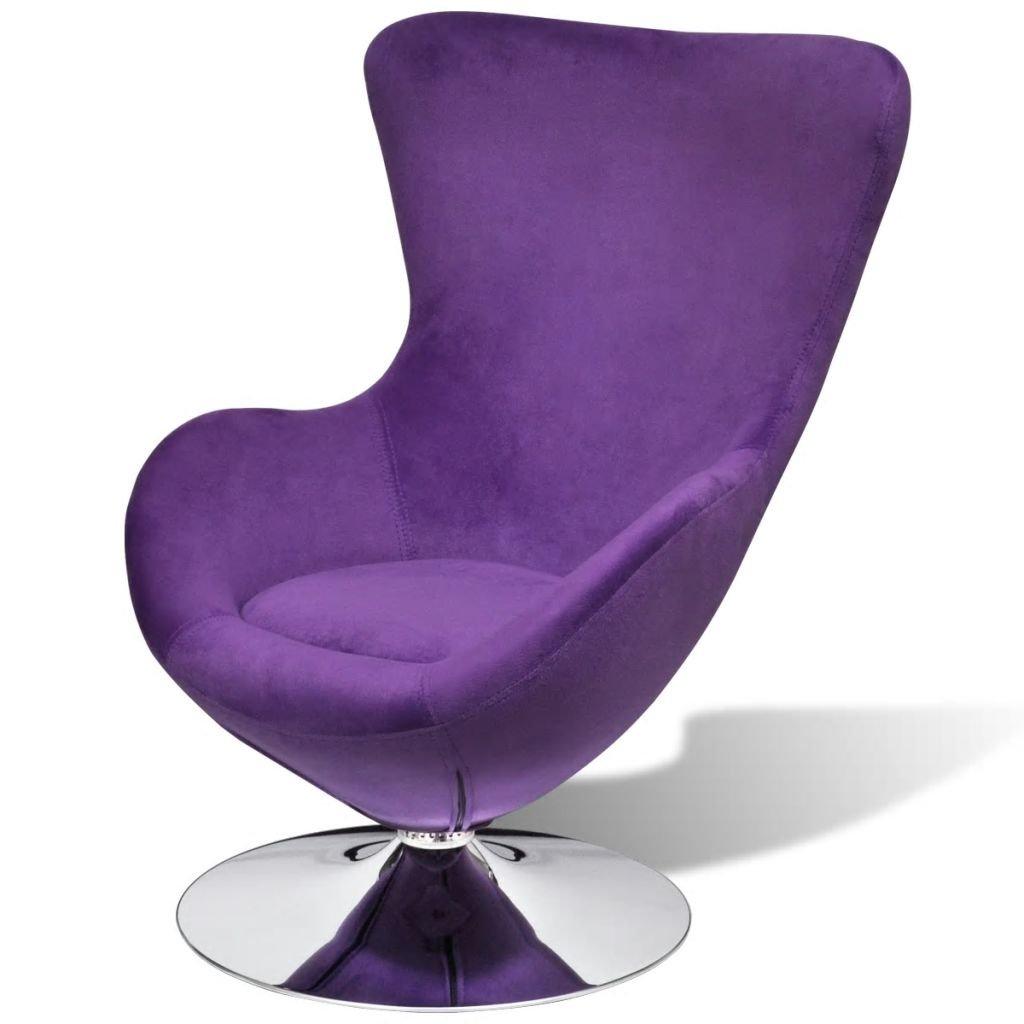 vidaXL Butaca Giratoria Pequeña con Cojín Color Púrpura Estilo Huevo Asiento Sillón