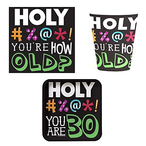 Holy Bleep 30 Tableware Pack for 16: Includes Napkins, Cups, and Dessert Plates