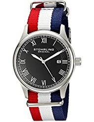 Stuhrling Original Unisex 522.04 Leisure Collection Gen X Liberty Date Red White and Blue Canvas Strap Watch