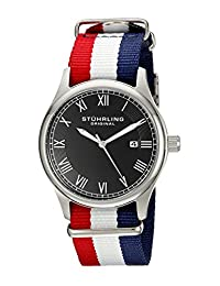 """Stuhrling Original Unisex 522.04 Leisure Collection """"Gen X Liberty"""" Red, White, and Blue Canvas Strap Watch"""