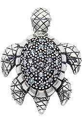 Sterling Silver Turtle Pin w/Aqua Crystal Stones