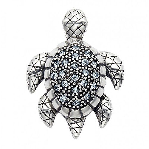 Sterling Silver Turtle Pin (Sterling Silver Turtle Pin w/Aqua Crystal Stones)
