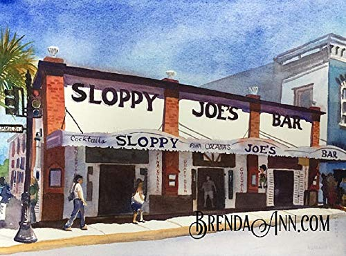 (Sloppy Joe's Bar Key West - Fine Art Wall Art Artwork Watercolor Print by Brenda Ann)