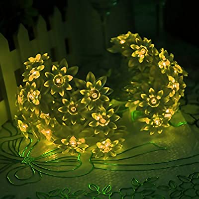 LED SopoTek Solar Powered String Light Outdoor 20 LED Lotus Flower Shaped Fairy Lights for Patio, Lawn, Yard, Porch, Christmas, Gardens, Wedding, Party Waterproof(20LED warm white/yellow)