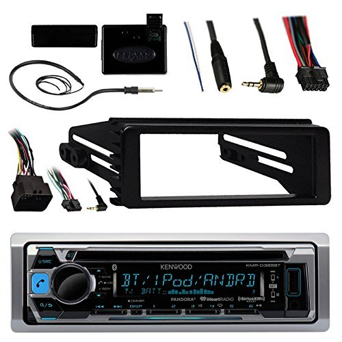 Kenwood KMR-D365BT Marine Stereo Receiver - 1998 2013 Harley Davidson Motorcycle Touring Flht Flhx Flhtc Bundle With Metra Dash Kit Trim + Weathershield Cover + Steering Control + Enrock Wire Antenna Cleveland Indians Hitch Cover