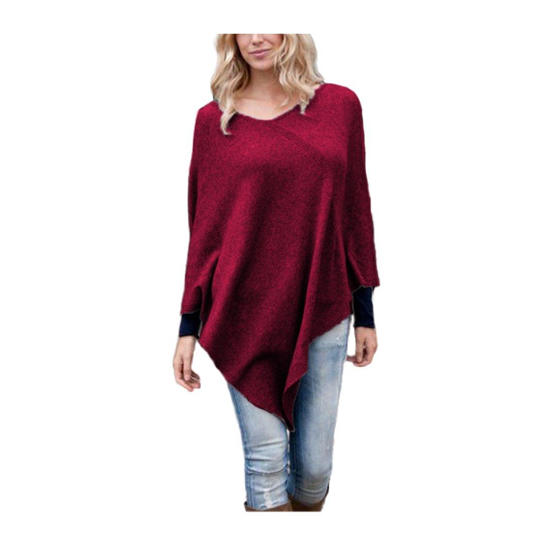 Parisbonbon Women's 100% Cashmere Pullover style Poncho Color Rosewood Size L