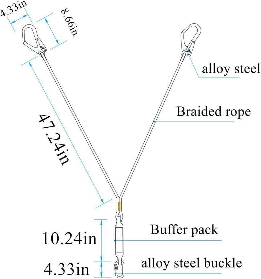 Carabineer White Safety Lanyard,Outdoor Climbing Harness Belt Lanyard Fall Protection Rope Large Snap Hooks