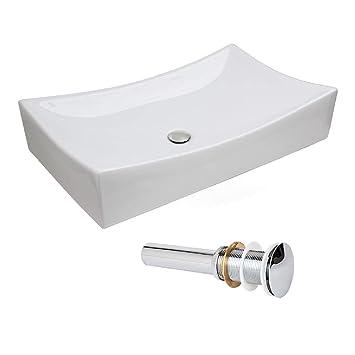 Merveilleux NEW Modern Low Profile Porcelain Ceramic Bathroom Faucet Vessel Sink Popup  Drain (Sink/Chrome
