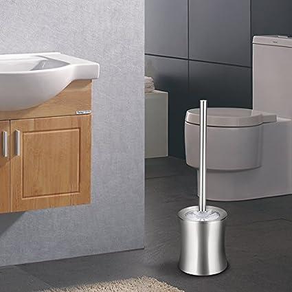 Virklyee Escobillero de WC Elegante escobilla de baño de Acero Inoxidable Escobillas y portaescobillas de Inodoro (02-Tipo de Cintura)