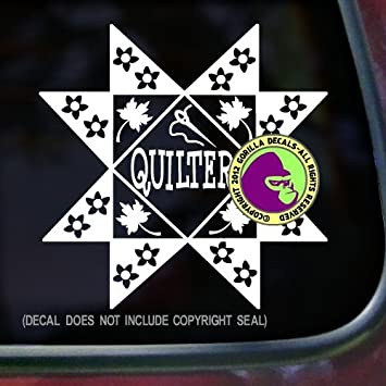 Quilter quilting pattern fabric needle hobby vinyl decal sticker kitchen car window laptop wall sign white