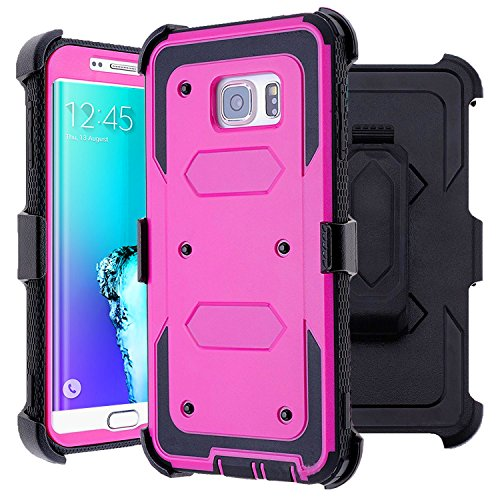 Samsung Galaxy S6 Edge Plus Case, J.west Heavy Duty Kickstand Belt Clip Holster Case for Galaxy S6 Edge Plus Defender Protective TPU Armor Rugged Hybrid Cover WITHOUT Built-in Screen Protector Purple